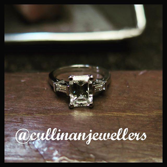 Emerald cut diamond engagement ring set with 1.80 carat center diamond and two baguette diamonds on either side . Classic and timeless design.  #cullinanjewellers #applewoodplaza #jewelleryoftheday #jewelryoftheday #mississauaga #mississauga_igers #sauga #905 #tdot #toronto #torontofashion #torontolove #torontostyle #torontoartist #416 #customjeweller #goldsmith #jeweler #jeweller #emeraldcut #engagaement #diamond #diamonds #diamondlife #💎 #customring #customjeweller #emeraldcutdiamond