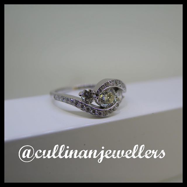 This has to be one of out favourite rings we have designed all year. Custom made 14k white gold semi-wrap ring features a 0.65 carat center diamond and 0.65 carats in accent diamonds. Modern design mixed with clean lines and diamonds as far as the eye can see ,really makes this ring stand out from other 3 stone diamond rings on the market. Our customer hand selected the diamond before the mount was started and we made the ring specially for the stone chosen. The result was breath taking. Enjoy :) #cullinanjewellers #applewoodplaza #jewelleryoftheday #jewelryoftheday #mississauaga #mississauga_igers #sauga #905 #tdot #toronto #torontofashion #torontolove #torontostyle #torontoartist #416 #customjeweller #goldsmith #jeweler #jeweller #customring #diamonds #diamond #diamondlife #engagement #engagementring #whitegold #shesaidyes #oneofakind #diamondring