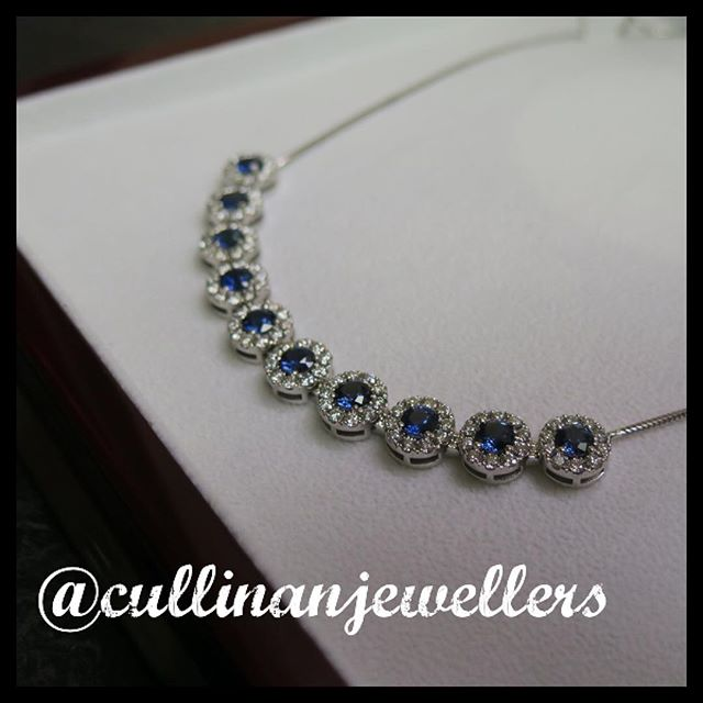 Seamless sapphire and diamond halo necklace made in 18k white gold. All 10 sapphires were matched over the coarse of a month being all unheated and free of any treatment, they are one of natures most beautiful gems. 7.02 carats of cornflower blue sapphires and 3 carats of VS diamonds make this piece something that is truely a one of a kind piece. Happy Friday  #cullinanjewellers #applewoodplaza #jewelleryoftheday #jewelryoftheday #mississauaga #mississauga_igers #sauga #905 #tdot #toronto #torontofashion #torontolove #torontostyle #torontoartist #416 #customjeweller #goldsmith #jeweler #jeweller #sapphire #sapphires #natural #customnecklace #sapphire #beautiful #oneofakind