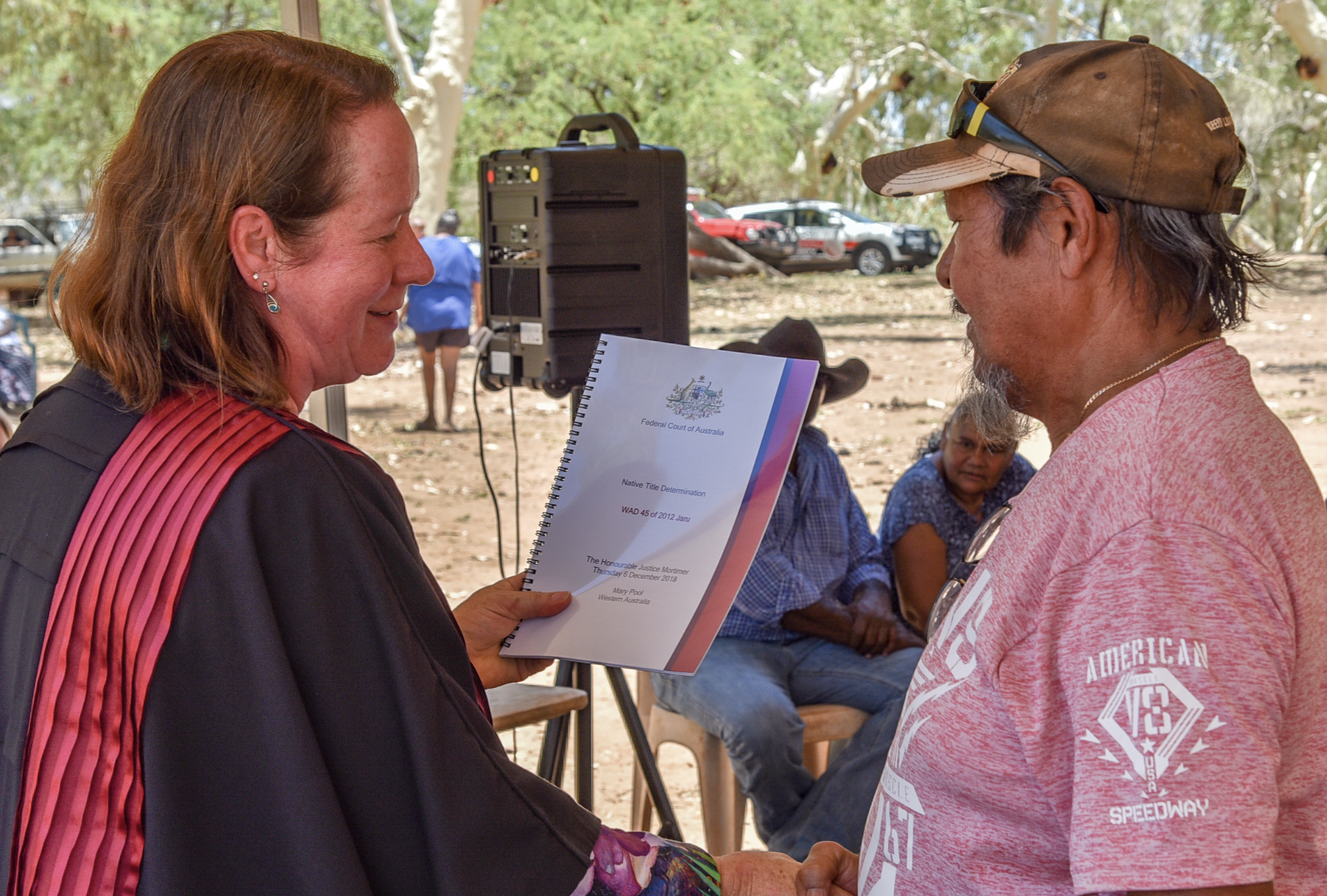 Jaru man and applicant Eddie Smith receives Native Title Determination from Justice Mortimer.