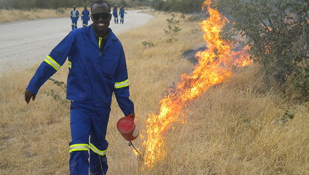 Prescribed burning operations of Mababe Zokosama Community Development Trust.