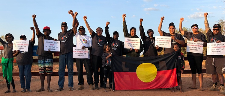 Nyikina Mangala Traditional Owners blockaded the site on 19 June 2019 and refused to allow contract workers onto the property.
