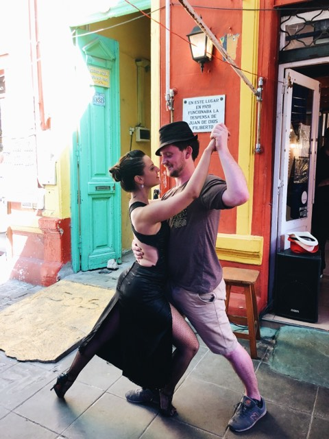 Joey Velvet exploring salsa before we meet them in Buenos Aires...