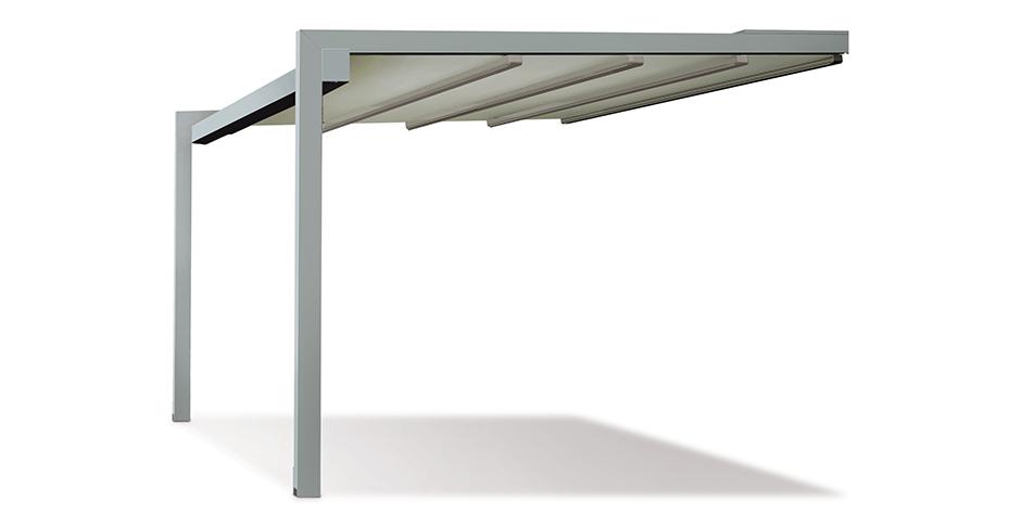 A2 - Struttura in alluminio robusta dal design compatto caratterizzato dal nodo di unione tra le travi e i portanti.Dim. max: larghezza 1300 in sporgenza 650