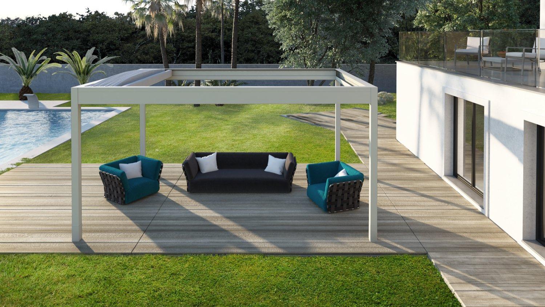 ISOLA 2 - Pergola dotata di tetto arcuato con tenda richiudibile ad impacchettamento e kit luci led integrato