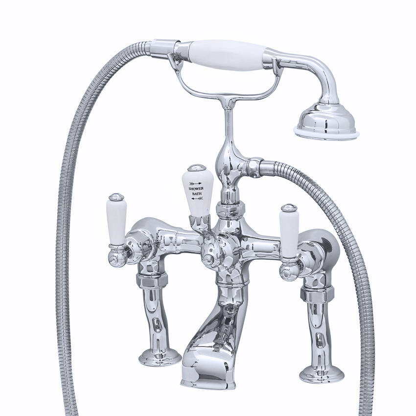 Perrin-and-Rowe- Traditional Bath shower mixer with lever handles, handshower, cradle and pillar unions3500-1.jpg