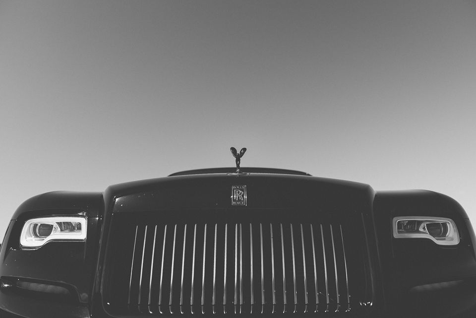 Front on photo of Rolls Royce Car (black and white)
