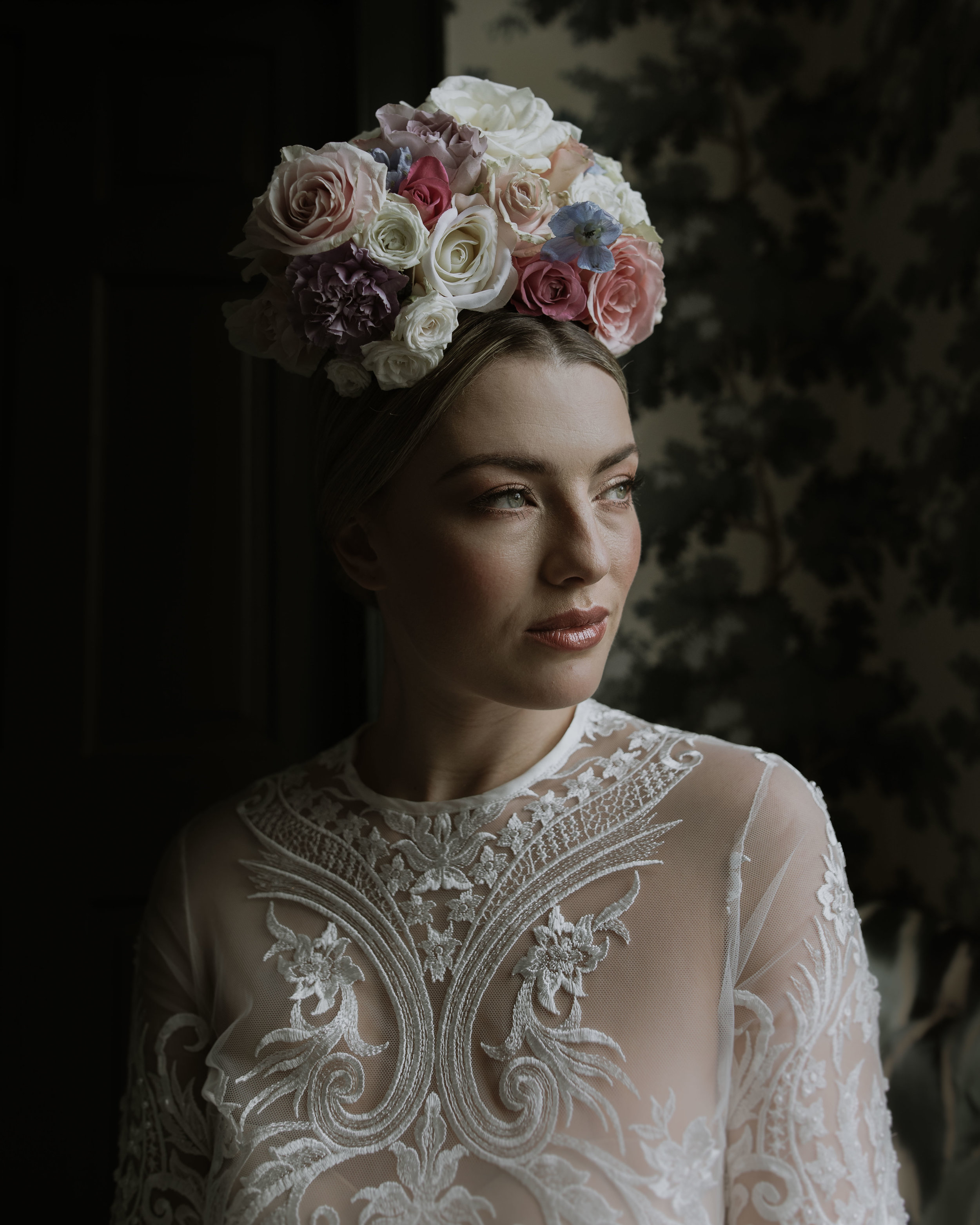 Amazing dress and flower head piece by window light