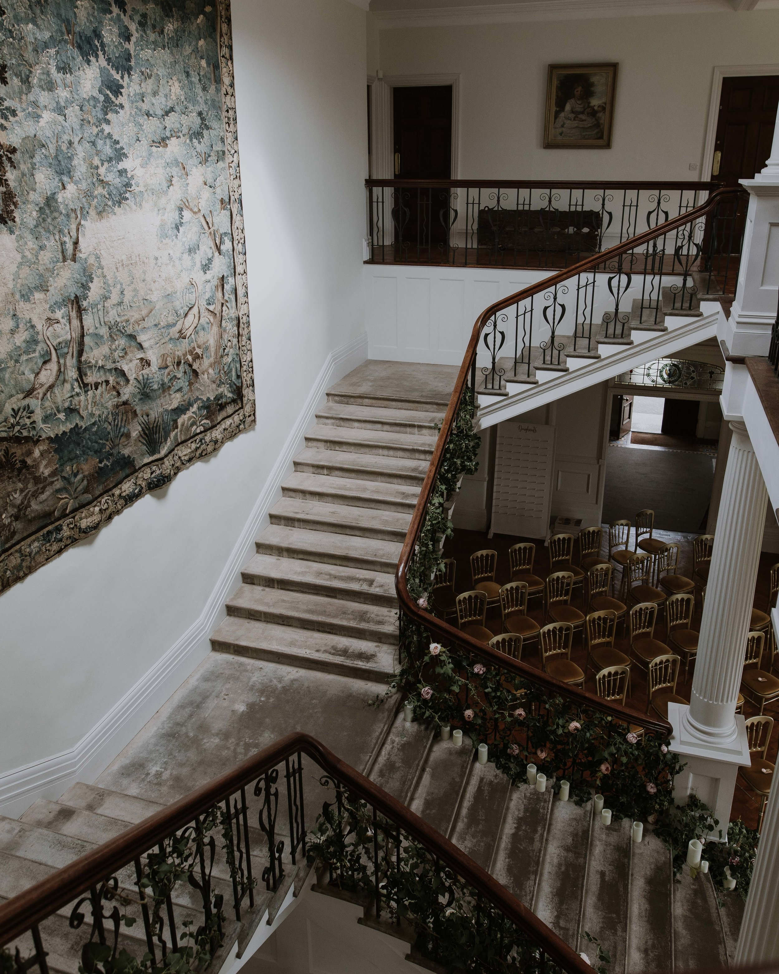 Grand staircase at Scorrier House Cornwall