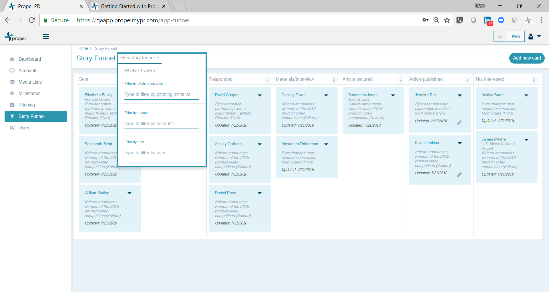 You can filter the funnel by user, account, or pitching initiative.