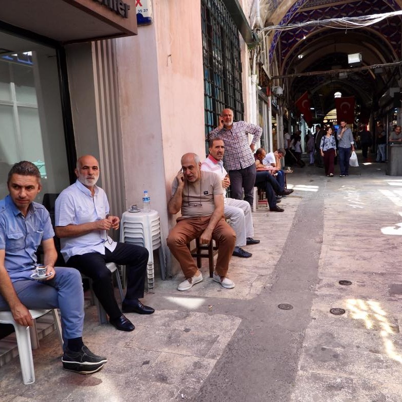 It's still the men who sit around in Istanbul's covered bazaar