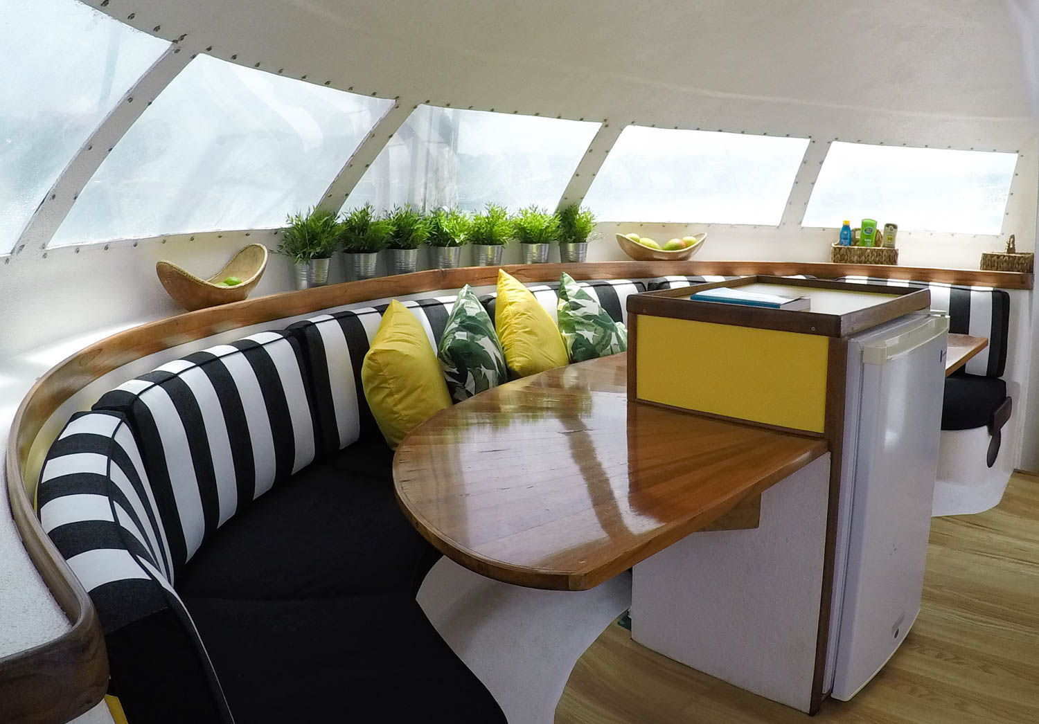 Spacious galley and seating salon.