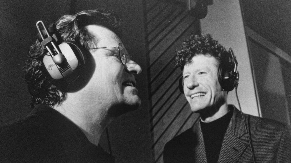 """Delbert McClinton in the studio with Lyle Lovett recording """"Too Much Stuff"""" for McClinton's 1997 album """"One of the Fortunate Few."""" Texas music journalist Diana Finlay Hendricks uses the album's title in her biography of McClinton. Image courtesy of McClinton personal archives Shore Fire Media"""