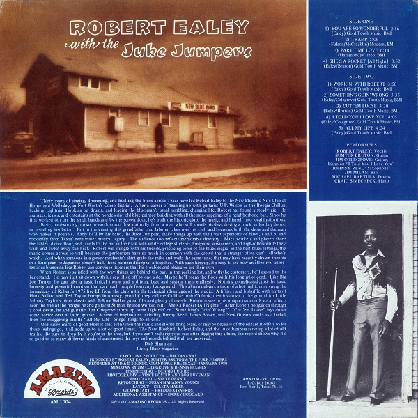 Back Cover – Robert Ealey and the Juke Jumpers – Bluebird Open (1981)