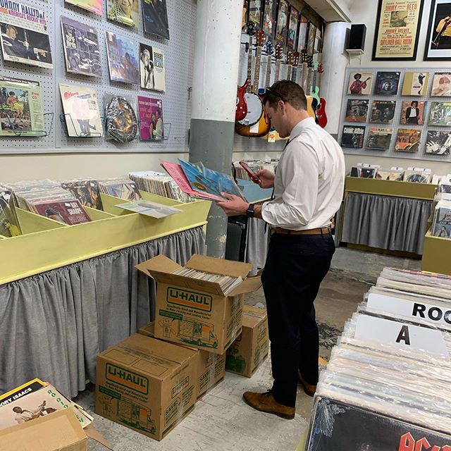 Record Town's good friend and best customer Zach is lovin' our new jazz records we just bought!! We have over 3,500 in near mint and very good condition. @recordtowntx @fortworthweekly @nearsouthside @leavesbooktea