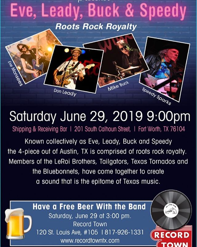 In-store appearance at Record Town on Saturday, June 29 at 3:00 pm!! @fortworthweekly @nearsouthside @joenickp @recordtowntx @shippingandreceivingbar