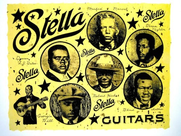 Dan Williams, Stella Guitars. Chine collé photo-polymer gravure on mulberry and Thai papers colléd onto a heavy Rives BFK paper. Courtesy of Flatbed Press and Barry Whistler Gallery.