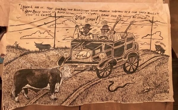 Andy Don Emmons, Lemon and Leadbelly. Collage and ink on paper feed sack. Though Blind Lemon acquired an automobile and a driver after his records began selling well, the artist's light-hearted vision places Jefferson behind the wheel.
