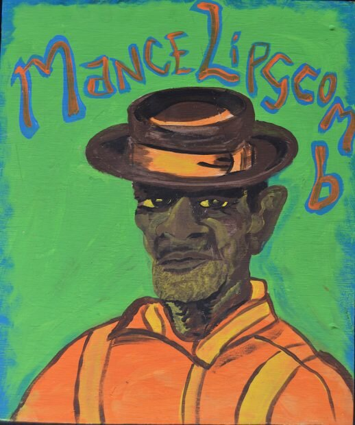 Andy Don Emmons, Mance Lipscomb. Acrylic on wood, Courtesy of Webb Gallery