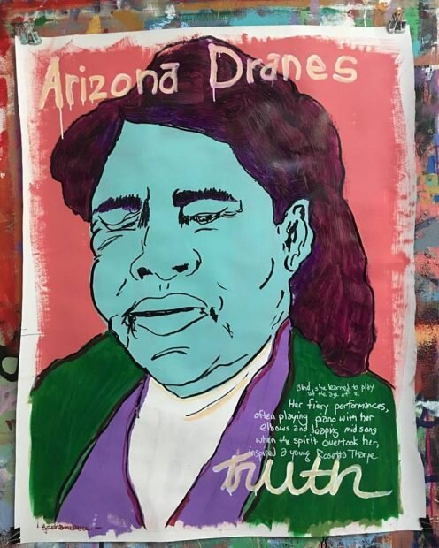 Tim Kerr, Arizona Dranes. Mixed media. From the forthcoming book, Ghost Notes – Pioneering Spirits of Texas Music by Michael Corcoran.