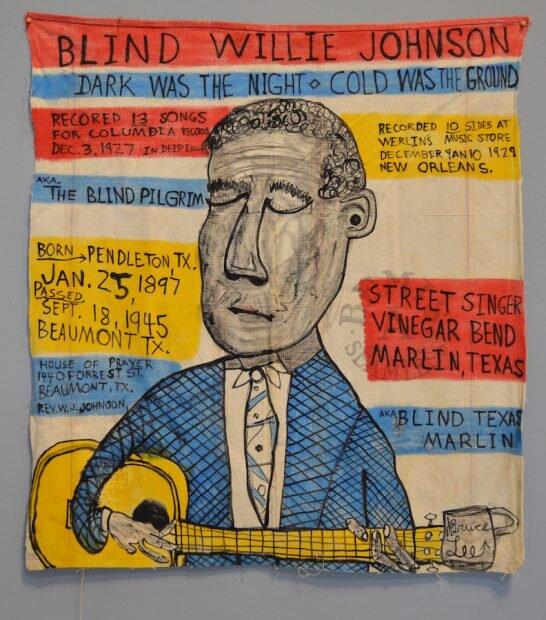 Bruce Lee Webb, Blind Willie Johnson. India ink and Higgins ink on Bemis seamless sack, Courtesy of Webb Gallery and Yard Dog Gallery.