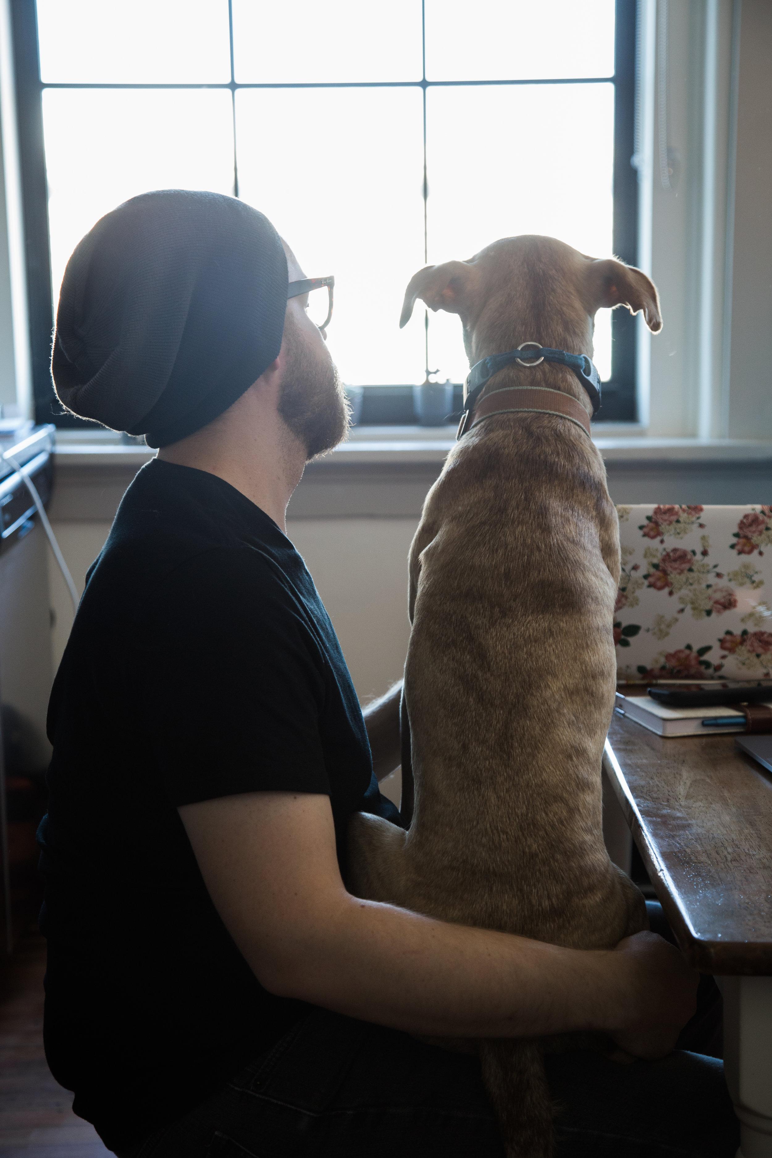 Zach with kobe, the Ästhetik design mascot dog