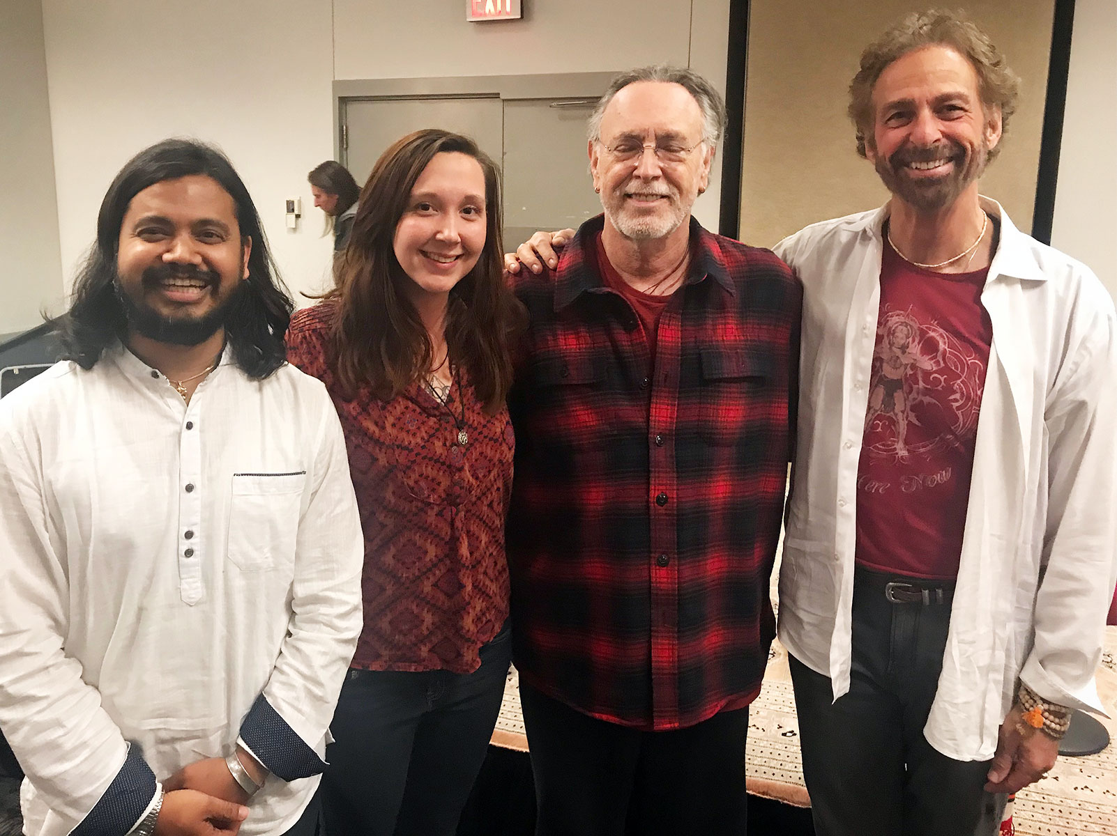 Earlier this year,  Yatra: The Documentary  producer Charly Louise (center-left) and Krishna Das (center-right) connected in Cleveland alongside Yatra medical mission volunteers Dr. Dayaprasad G. Kulkarni and Dr. Rick Friers.