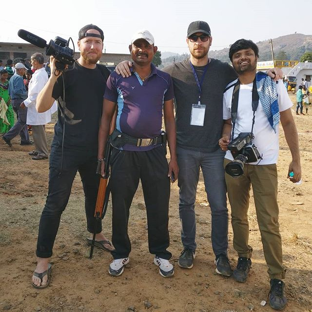 Director of Photography @cjoflair ; Director @matt_alesevich and Cameraman @vaitahavya_sharma with a local militiaman. During the Yatra, armed guards formed a perimeter around the medical camp to ward off potential threats from kidnappers and terrorists.