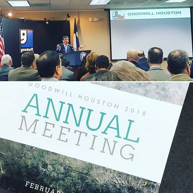 Out team was excited to be in attendance at Goodwill Industries of Houston's Annual Meeting today. We learned more about Goodwill's mission, outreach, and operations. Great event put on by great people!