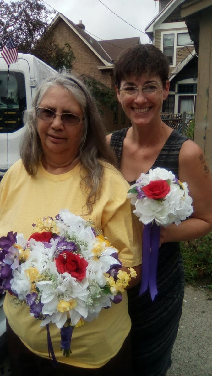 Sandy and Dorothy prepping wedding bouquets