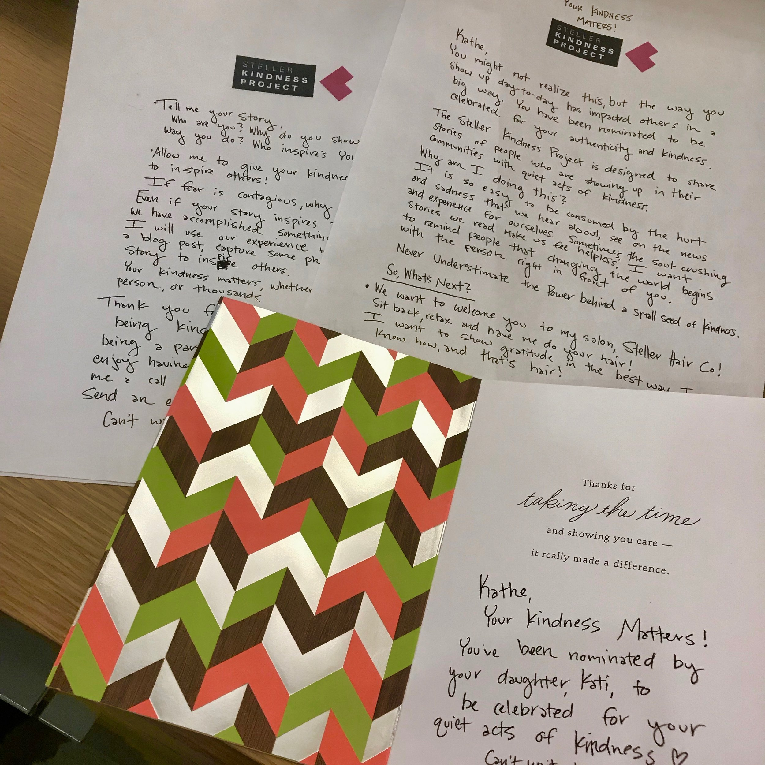 - Kathe was the first Kindness Project nominee that received her invitation via snail mail. Kati shared with me that her mom doesn't email, and appreciates handwritten correspondence.