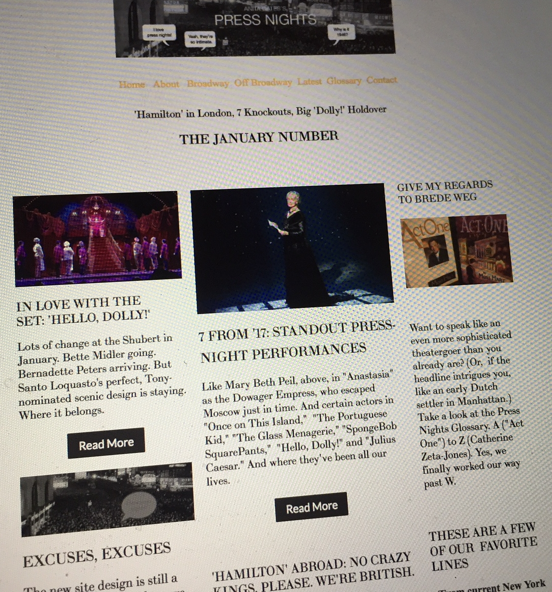 The Home Page - THE JANUARY 2018 PRESS NIGHTS  home page, including posts on
