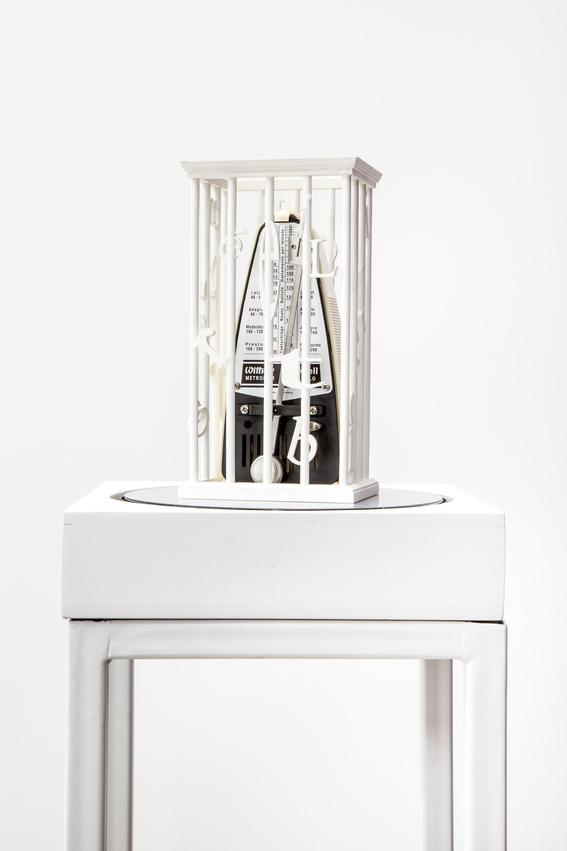 Sydney Shen (b. 1989),  Lament Config . 2015. Metronome, 3d-printed nylon, revolving mirrored base, wood, steel. Courtesy of the artist. Photo: Daniel Hojnacki.