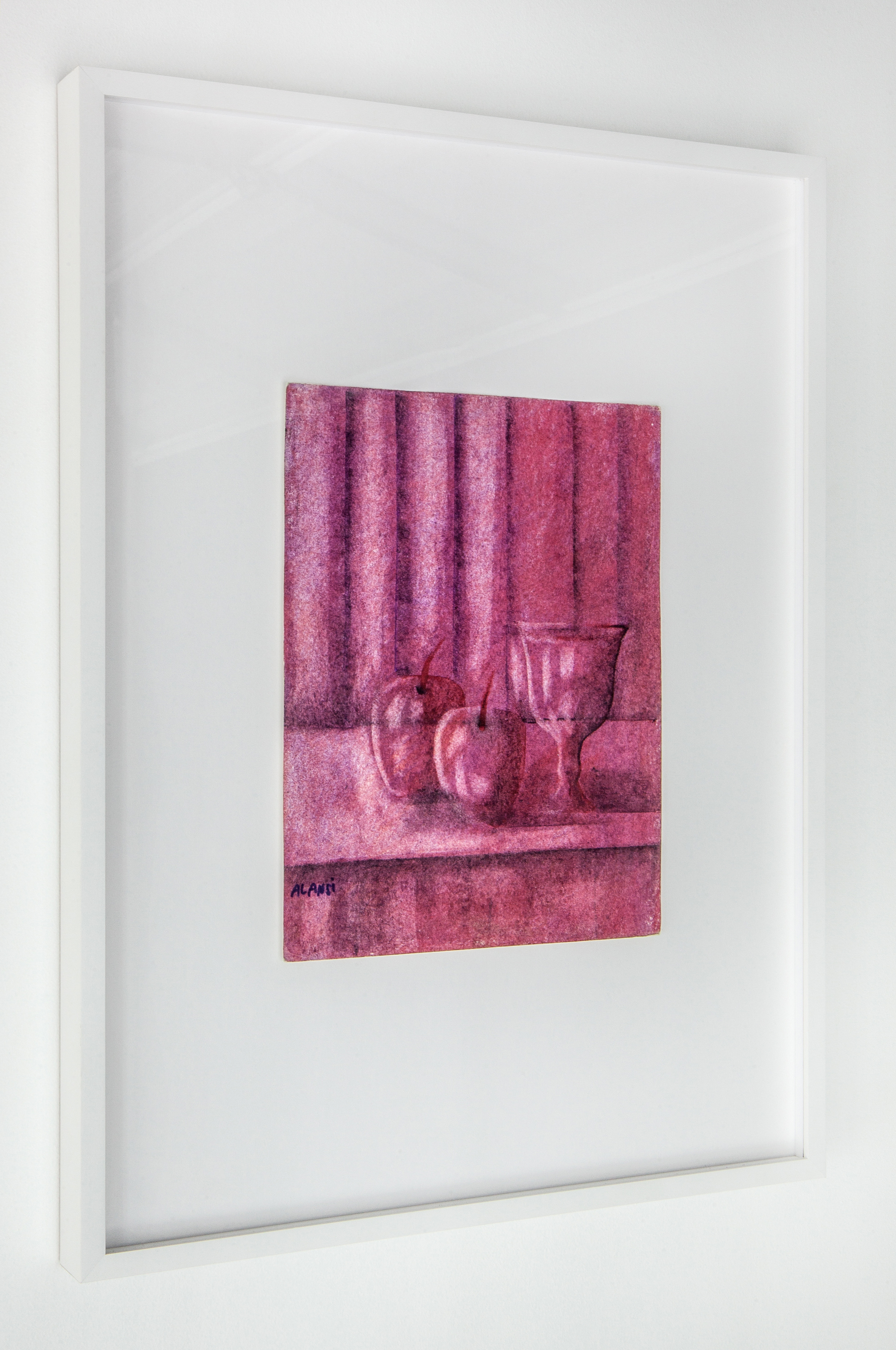 Ansi,  Still life of apples and a cup against a striped background , 2016.   Oil pastel on paper, 12h x 9w in.  Photo: Daniel Hojnacki.