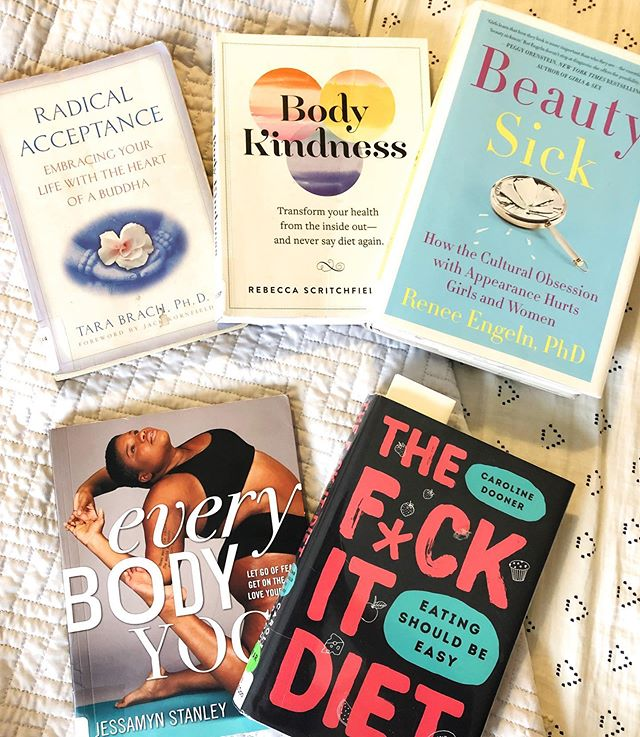 "Been trying to work on that ""all or nothing"" thinking but I was ALL. IN. at the library. I was so excited to see they had nearly every book on my wish list that I maaaay have gone overboard...with zero regrets.  Are any of these gems on your bookshelf? 📚"