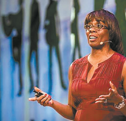 """Toni Griffin, architect, urban planner and editor of the """"Just City"""" essays visited Erie in April 2016."""