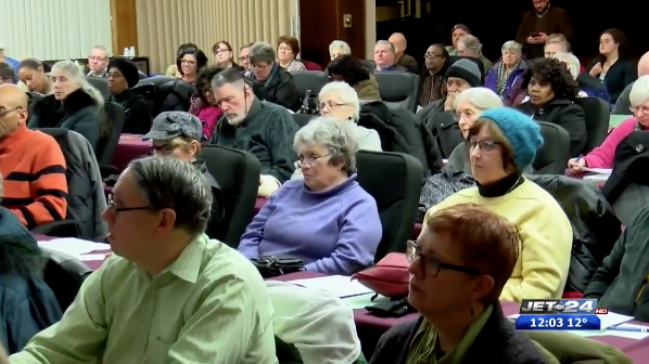"""150 people filled the Jefferson classroom to hear short presentations, to participate in the """"Citizens to be Heard"""" section, and to witness the panelists respond to audience questions."""