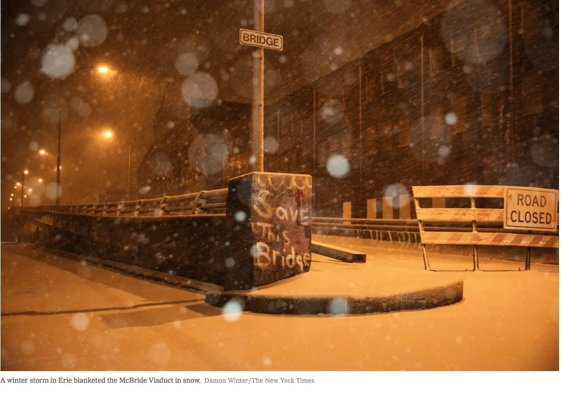 """Northend of Erie's McBride Viaduct at East 12th and East Ave. photographed by Damon Winter in The New York Times story by Michael Kimmelman,"""" In Erie, One City Block is a Trek of Disrespect."""""""