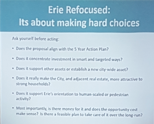 City Hall's guidelines for implementing the ERIE REFOCUSED plan.
