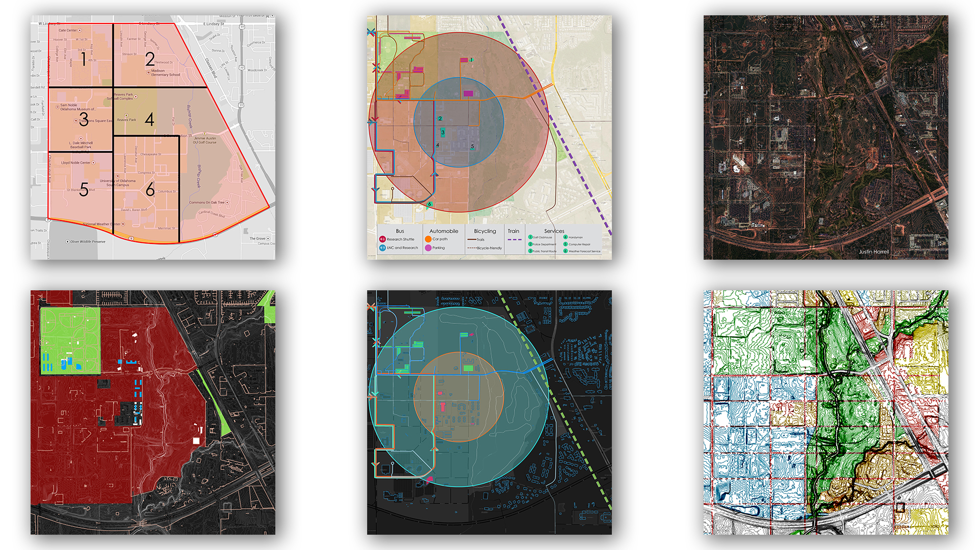 The process of creating the master plan of Oculus City began with a series of urban mappings for the current site that organizes information of the existing and past conditions.