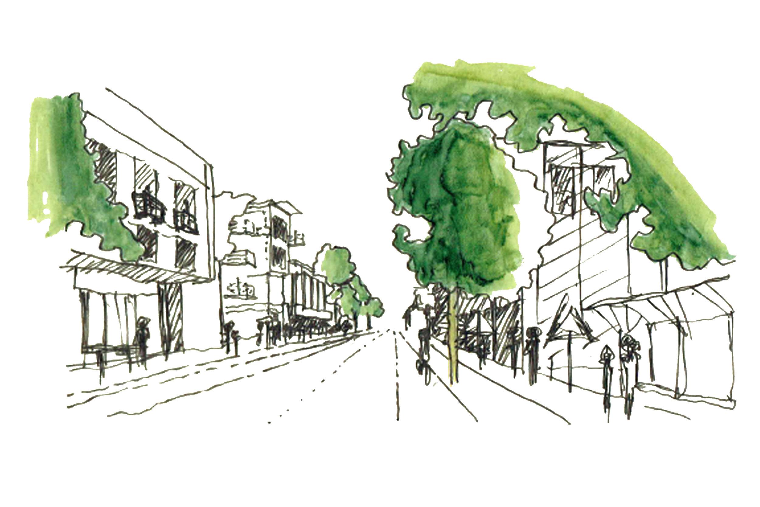 Tramline and Sidewalk