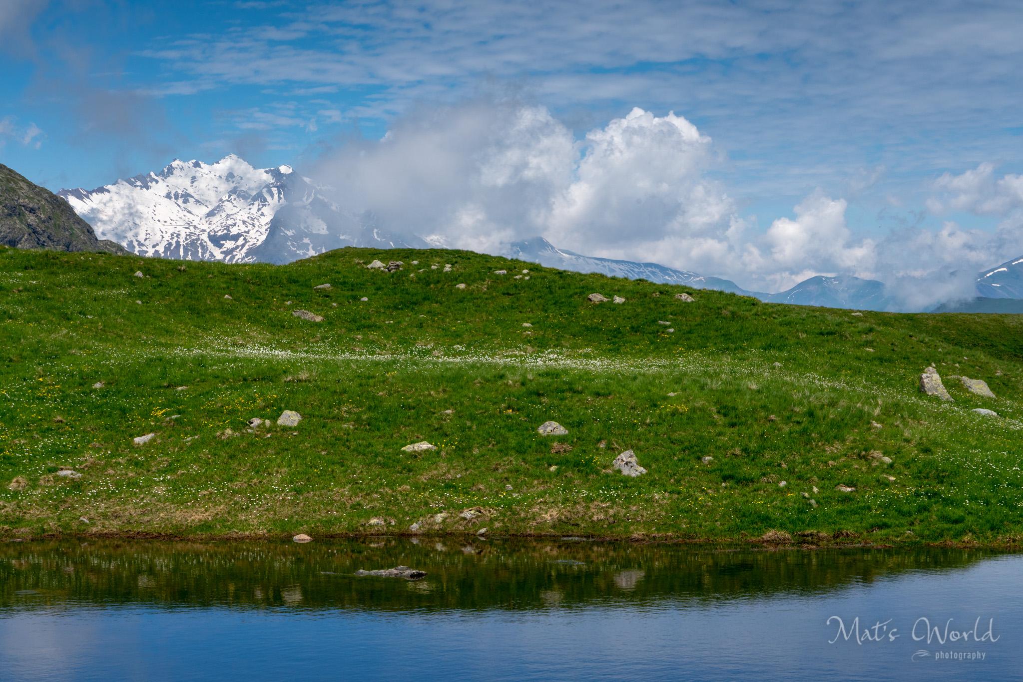 Distant alpine peaks on the way back.