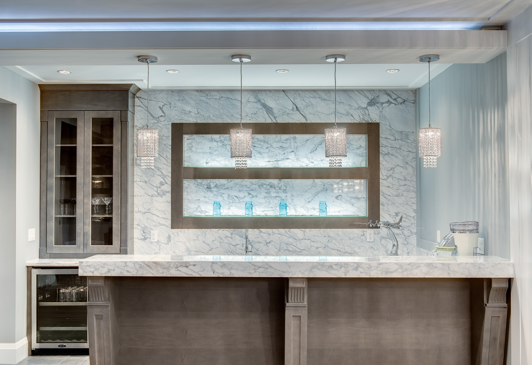 home bar with crystal pendant lights