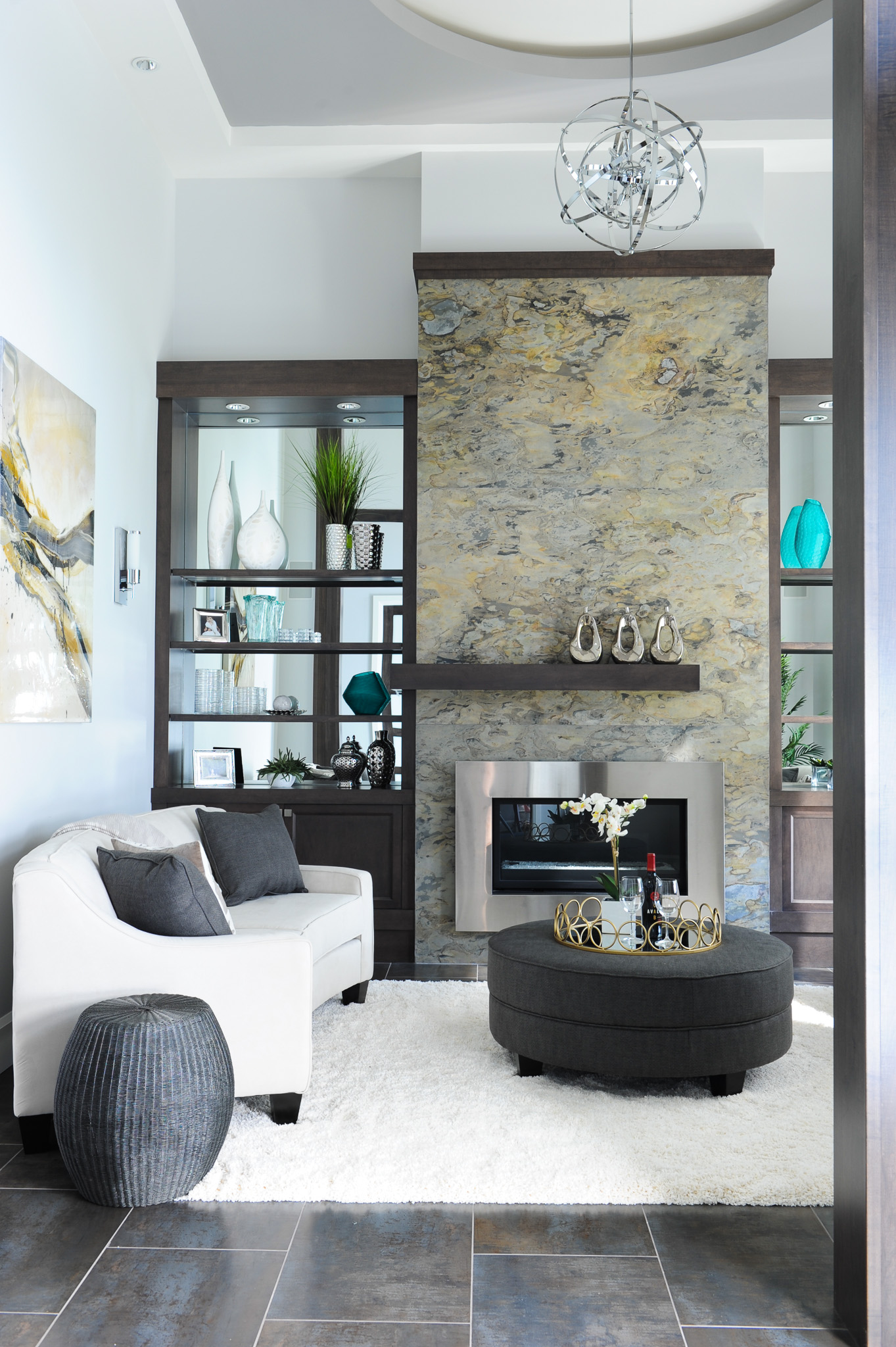contemporary living room fireplace