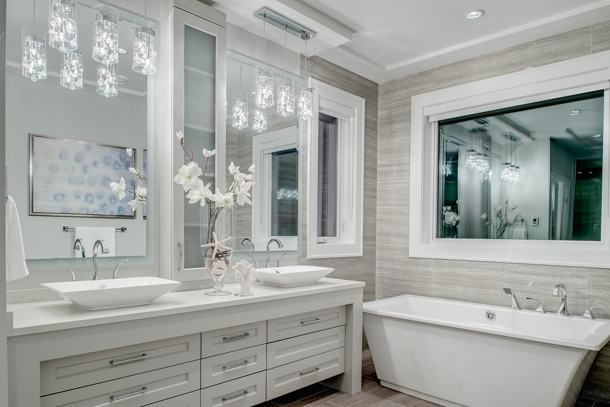 contemporary white master bath