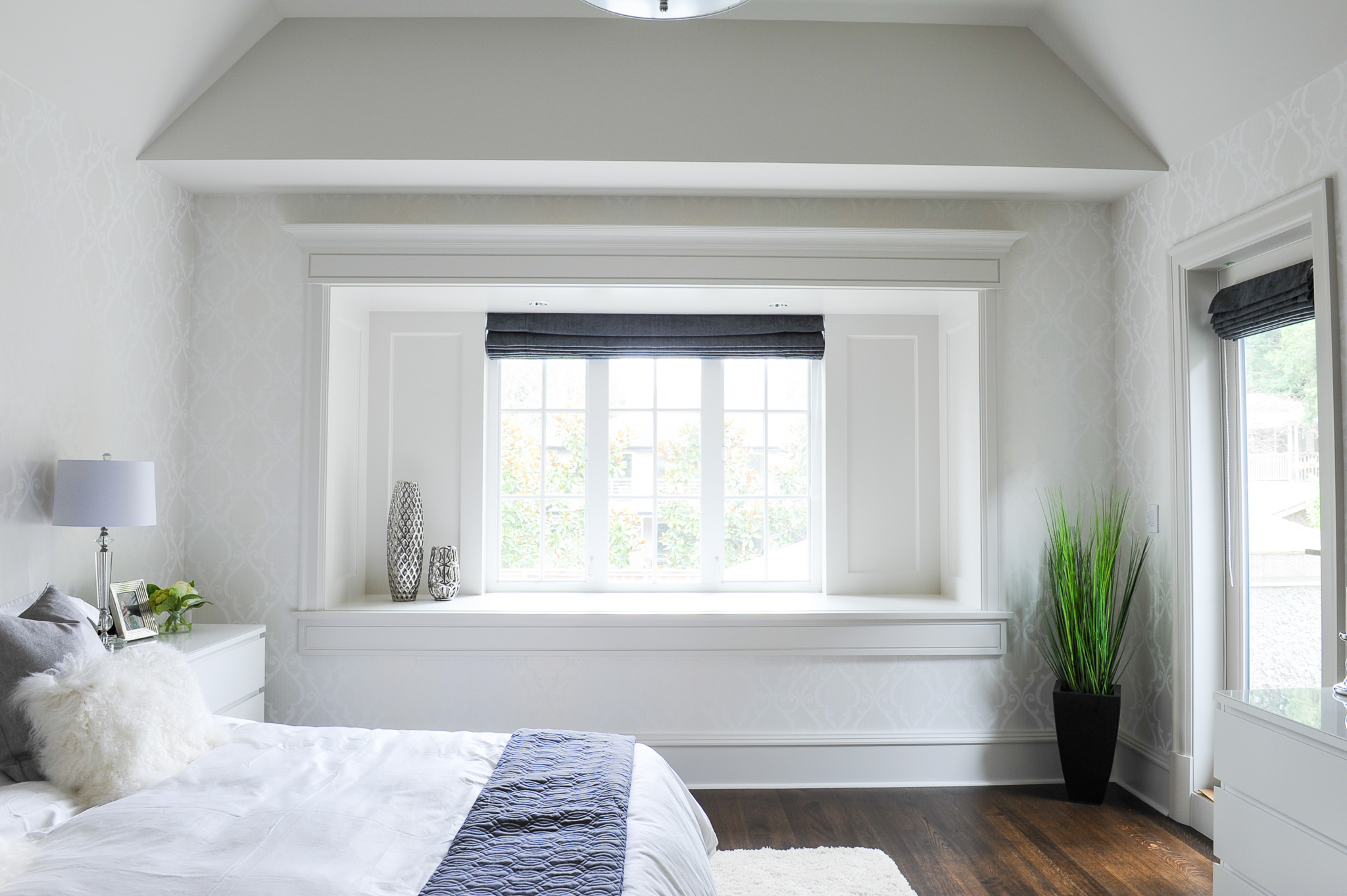 transitional white master bedroom