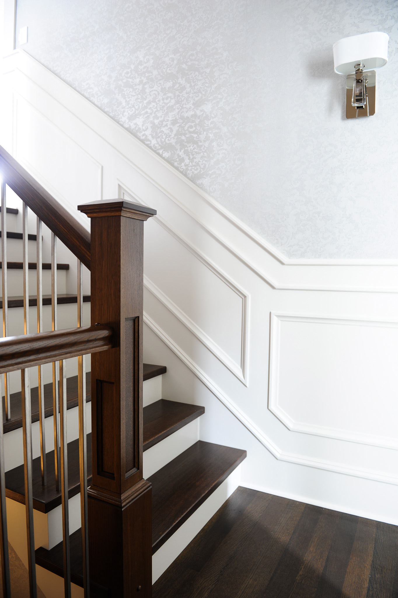 wood stairs and wall paneling