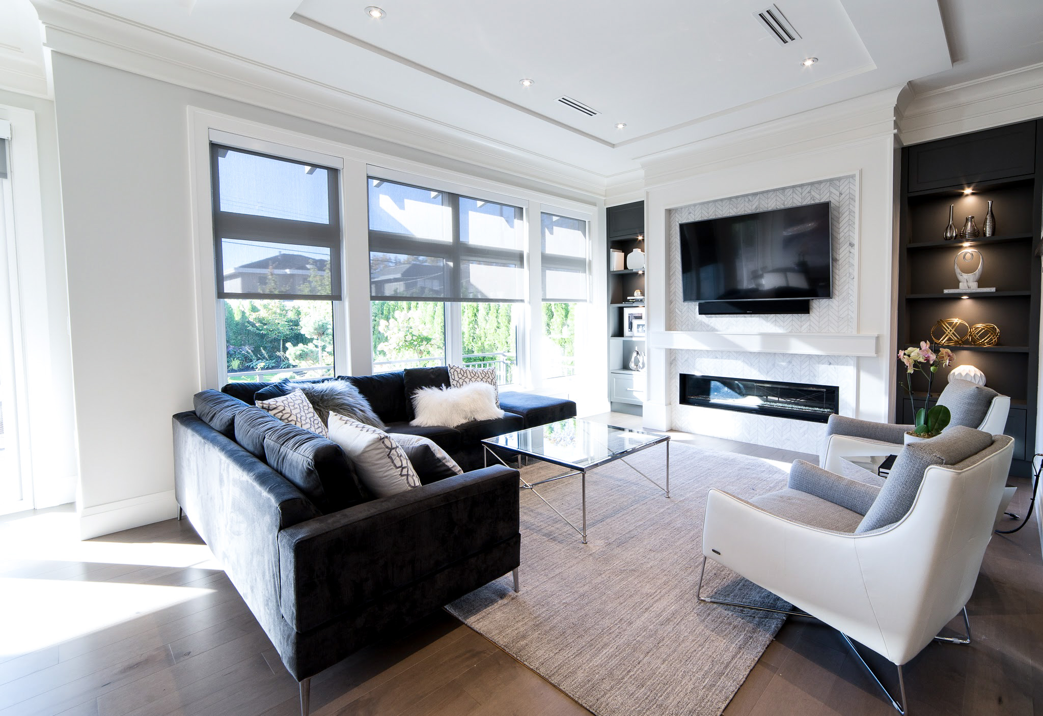 Transitional white living room