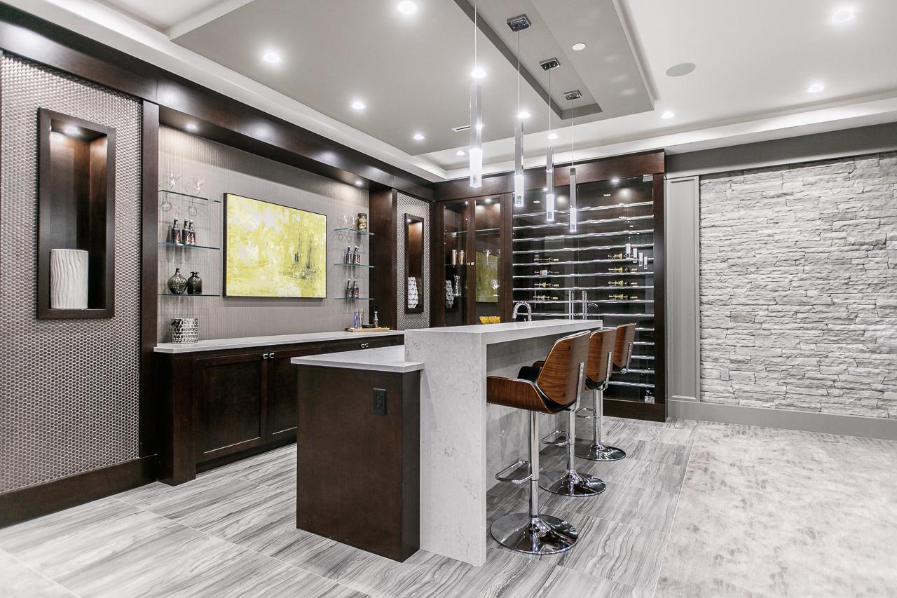 transitional basement bar