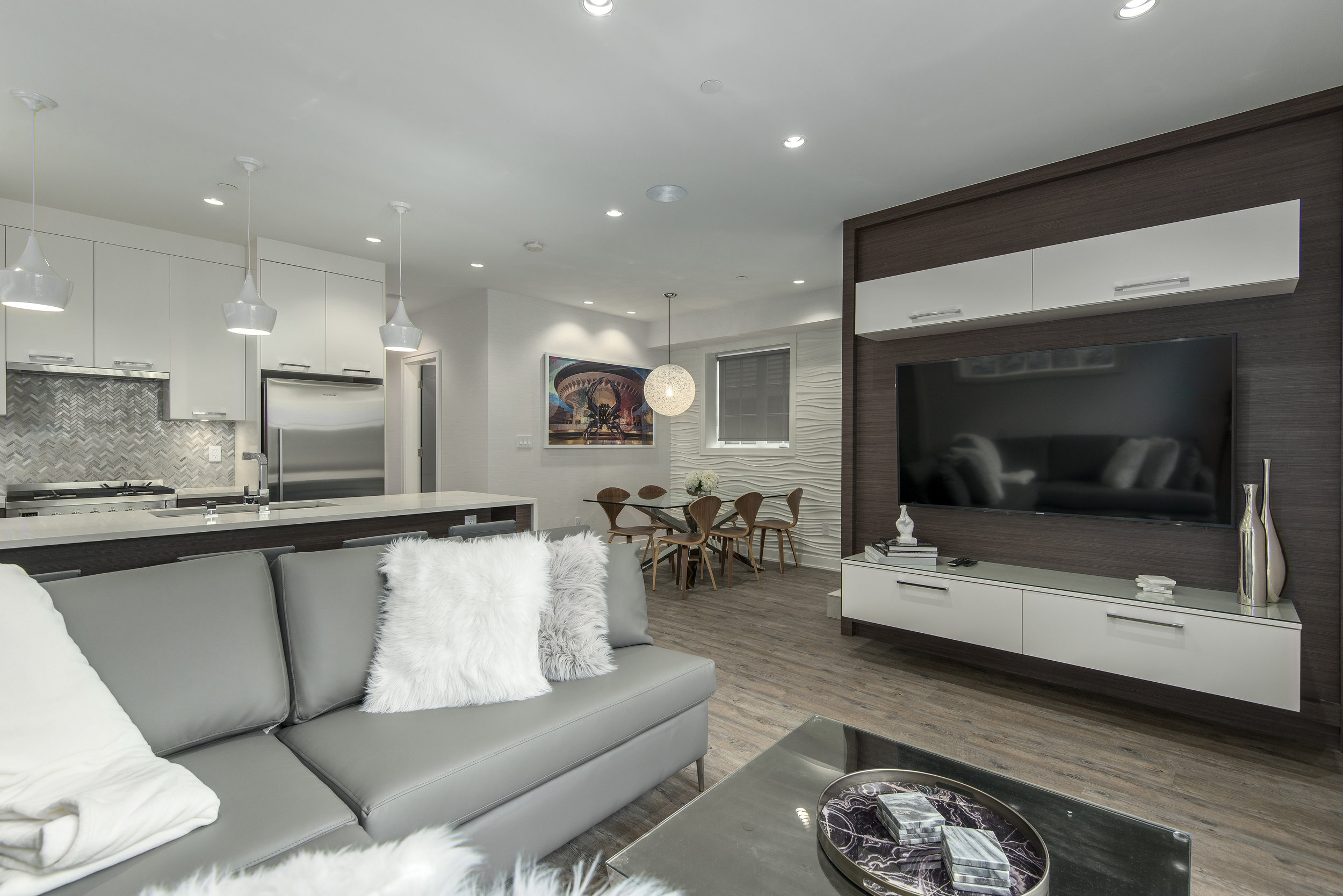 contemporary living and dining space
